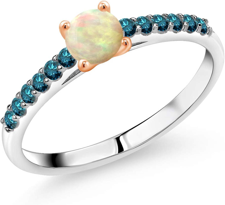 Jewelry for Women Handed-Made Bracelet Cabochon Blue Topaz Gemstone 925 Sterling Silver Bracelet White Gold Filled Gift for her