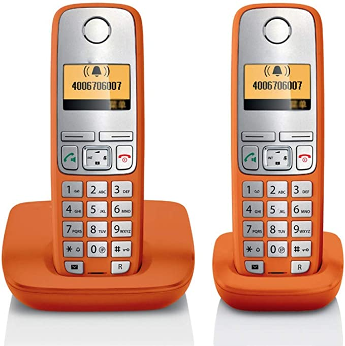 GUOOK TeléFono BotóN Vintage TeléFono InaláMbrico Expansible AnfitrióN TeléFono Individual Oficina En El Hogar TeléFono Fijo Llamadas Manos Libres Bienvenido (Color: Naranja2): Amazon.es: Hogar