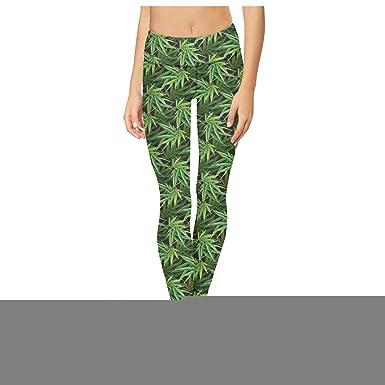 Best-Cannabis-Leaf-Green- Womens Printed Fashion Yoga Pants ...