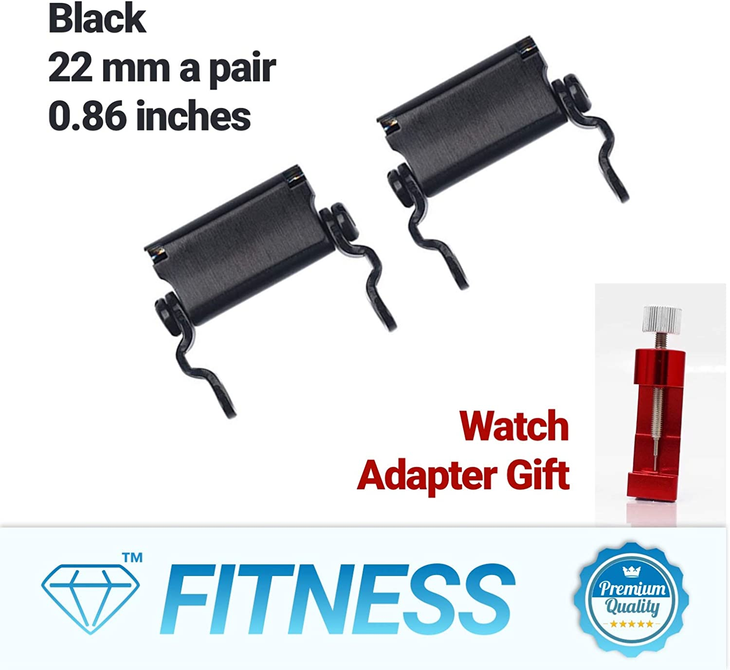 Diamond Survival Multitools Bracelet Adapter for Watch, A Pair of Black Lug 22mm 0.86 – Only Pair of Links and Gift Watch Adapter