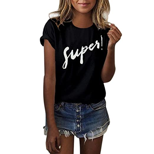 DondPO Young Women Fashion Summer Short Sleeve T Shirts Print Letter Loose Blouse Casual Tank Round