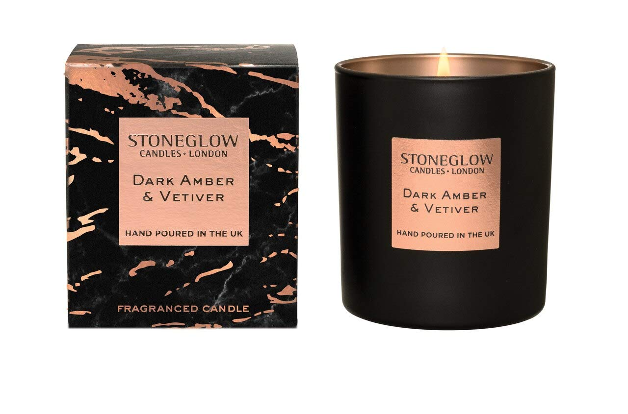 StoneGlow Seasonal Scents LUNA Dark Amber & Vetivert Tumbler Candle- Boxed