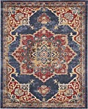 Traditional Persian Rugs Vintage Design Inspired Overdyed Fancy Dark Blue 8' x 10' FT (244cm x 305cm) St. James Area Rug