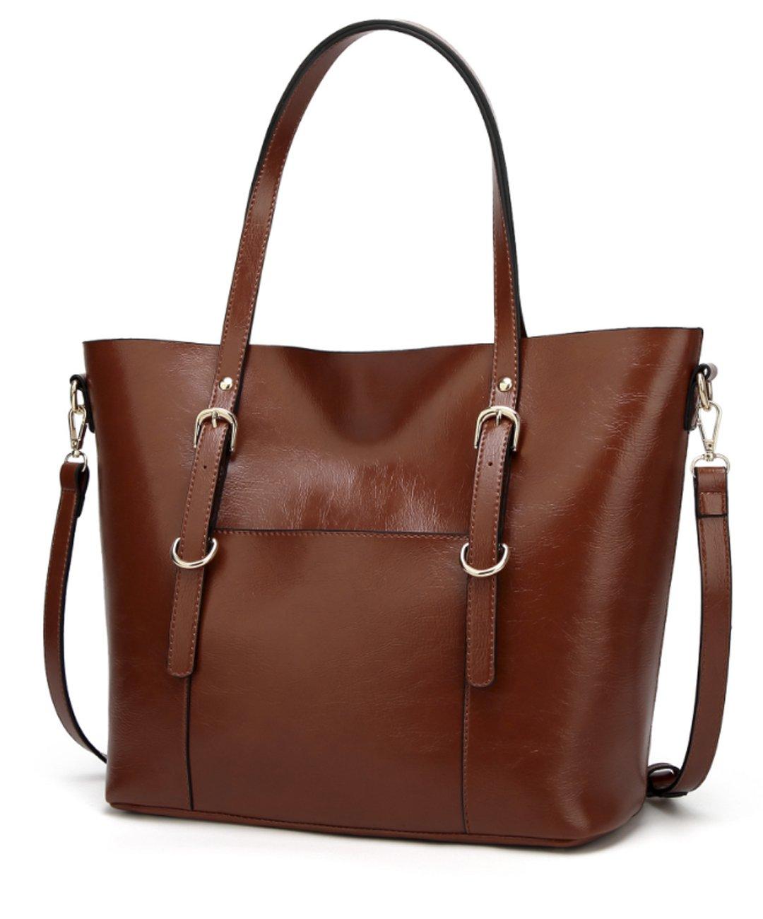 Women's Vintage Fine Fibre Genuine Leather Bag Tote Shoulder Bag Handbag Model Craft Coffee