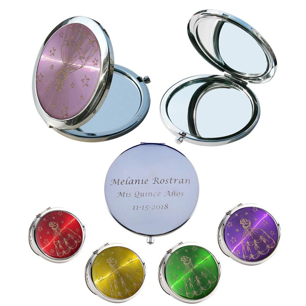 Mis Quince Años (12 PCS) Sweet 15, Sweet Sixteen, Quinceañera, Mis 15 Años Compact Mirror (Green)