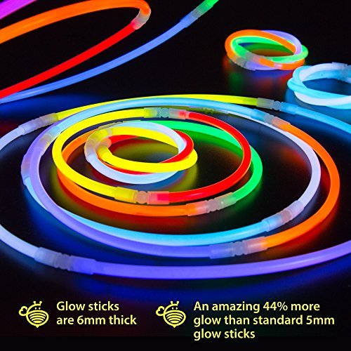 Glow Sticks Bulk Party Supplies - 100 Light Stick Necklaces - Extra Bright Glow In The Dark Party Favors - 22'' Inch Necklace Strong 6mm Thick - 9 Vibrant Neon Colors - Stuffers for Kids - Mix by CoBeeGlow (Image #4)