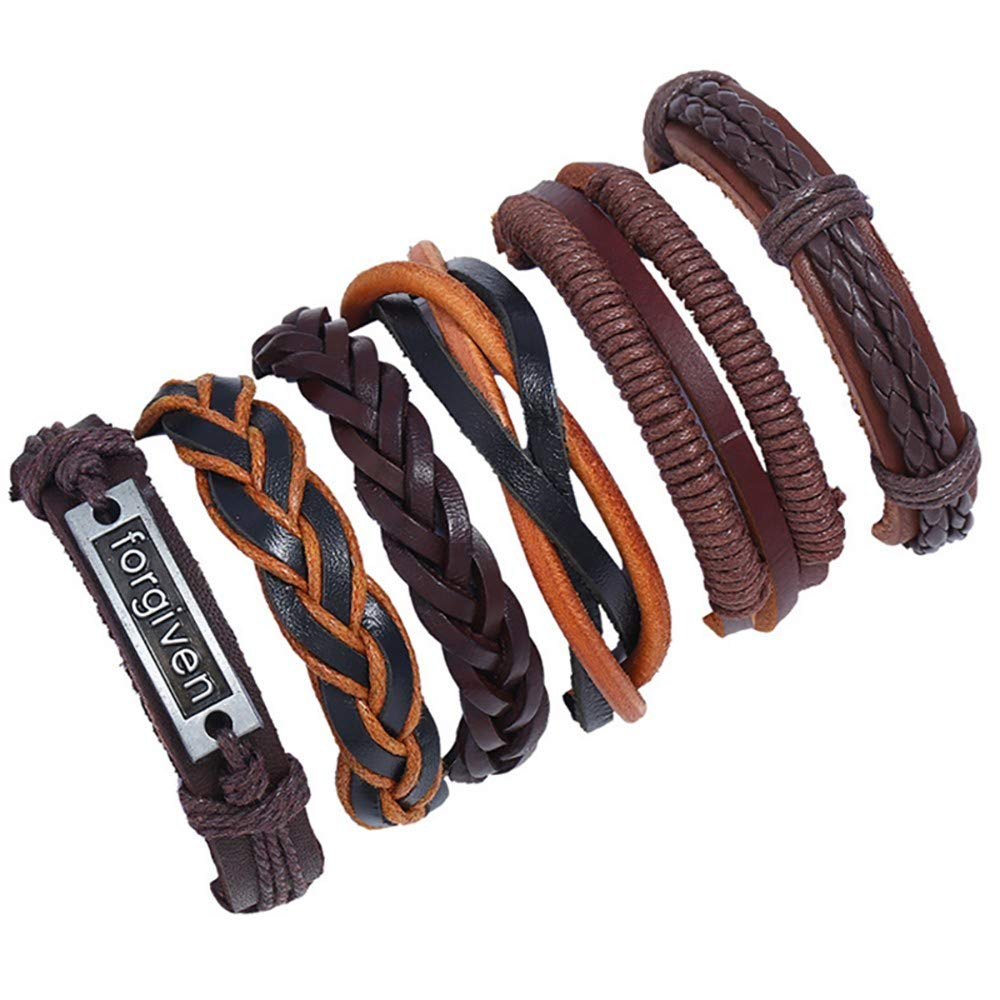 baskuwish 6Pcs Vintage Handmade Braided Leather Bracelet Adjustable Wrap Bracelet Cuff Wristband for Men