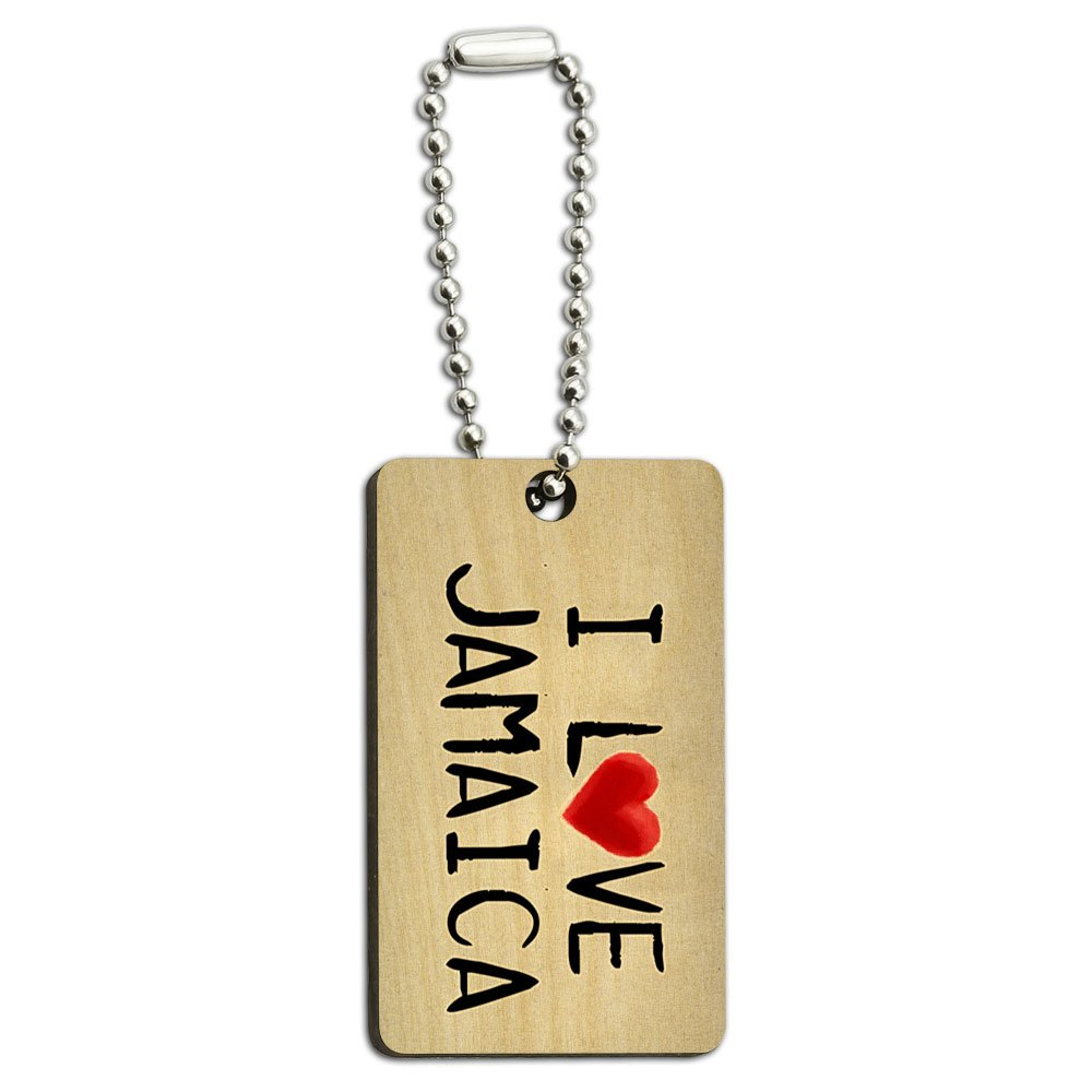 I Love Jamaica Written on Paper Wood Wooden Rectangle Key Chain