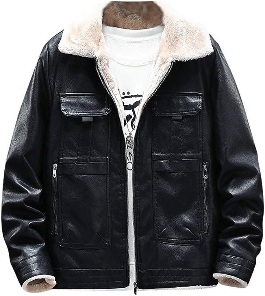 Sylar Chaquetas de Cuero Hombres Negro Chaquetas de Cuero Hombres Moto Solapa Chaqueta Espesar Cálido para Hombre Abrigos Invierno Hombre Bombers Jacket Manga Larga con Cremallera