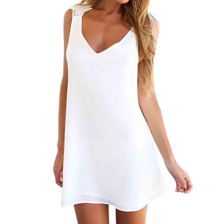 SUNNOW® NEU Elegant Sommerkleider Minikleid Oberteile Spitze Sexy V-Ausschnitt Ärmellos Rückenfrei Partykleid Transparent