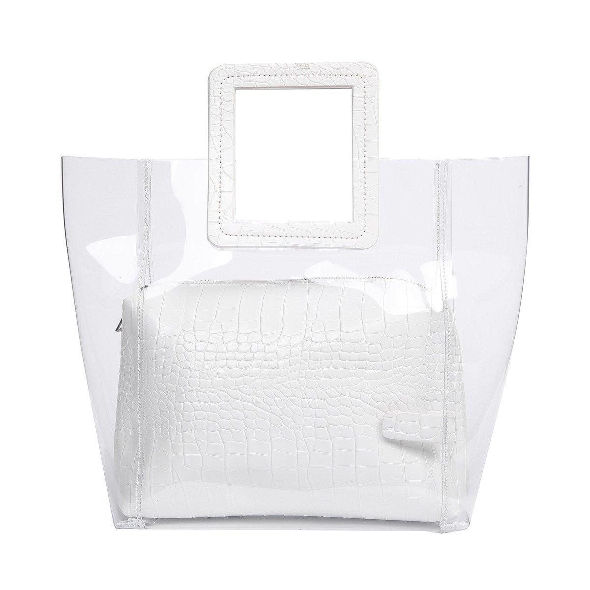 FANCY LOVE Classy Waterprof Clear Tote Beach Shoulder Crossbody Bag (White)