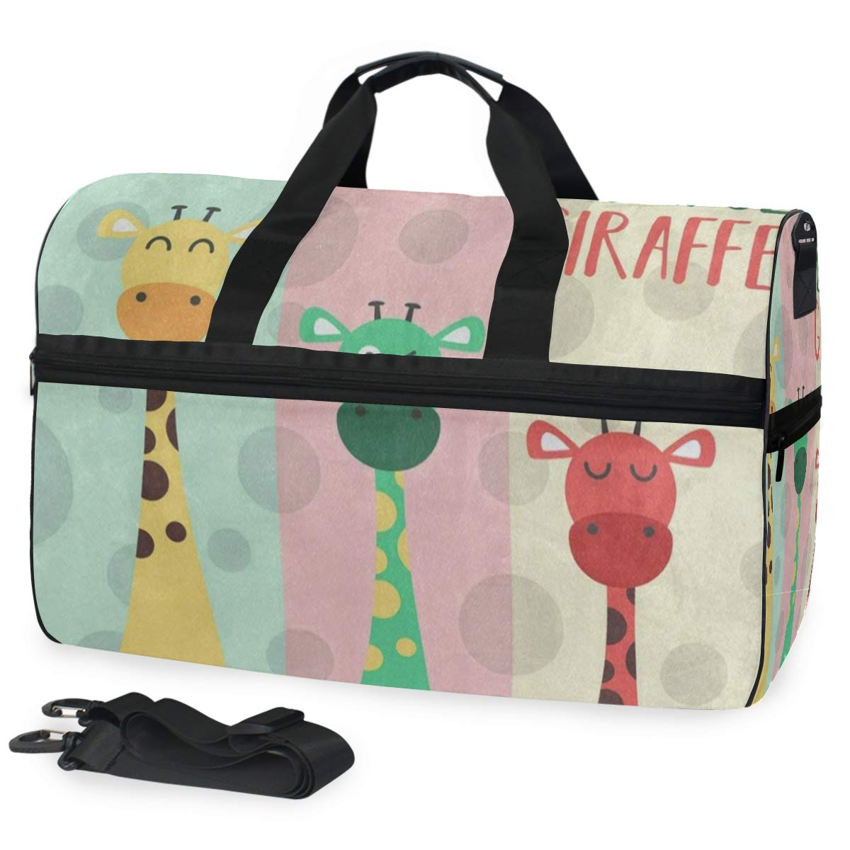 Colored Giraffe Polka Dot Large Canvas shoulder bag with Shoe Compartment Travel Tote Luggage Weekender Duffle Bag