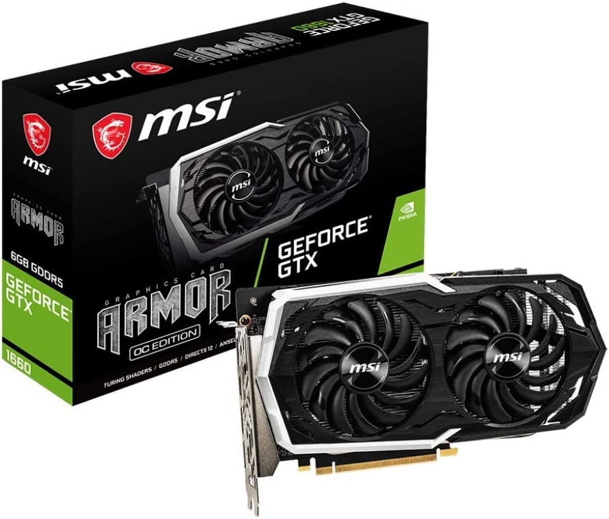 MSI GeForce GTX 1660 Armor OC Dual Fan Graphics Card - 6 GB