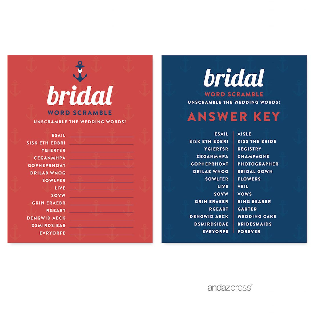 andaz press nautical ocean adventure wedding collection wedding word scramble bridal shower game cards