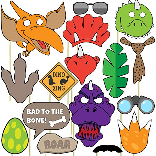 Dinosaur Photo Props (32 Pieces) for Photo Booths, Kids Birthdays, Dinosaur Parties and More! Our Dinosaur Photo Booth Party Favors are Pre-Made (Not DIY) for Your Convenience!