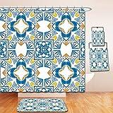 Nalahome Bath Suit: Showercurtain Bathrug Bathtowel Handtowel Traditional House Decor Tunisian Mosaic with Azulojo Spanish Influence Authentic Retro Islamic Blue