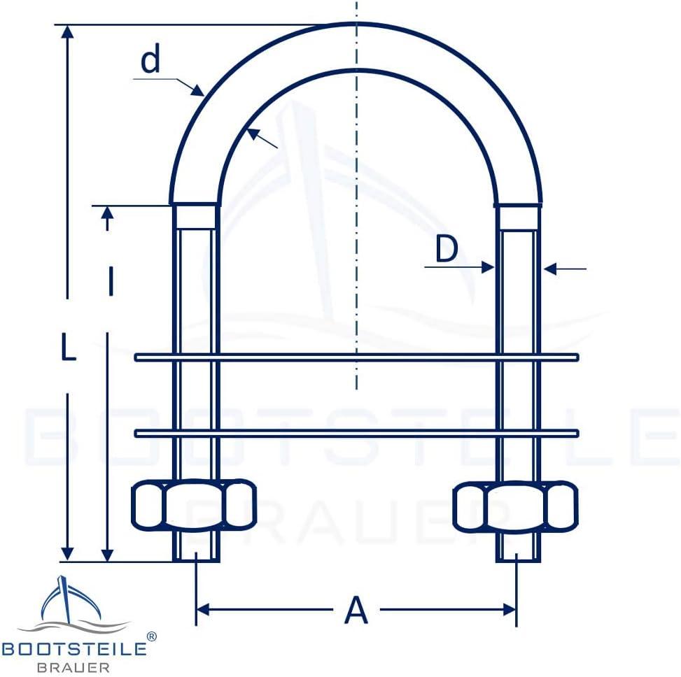 B/ügelbolzen U-Bolzen mit 2 Platten und 2 Muttern DIN934 M8 X 52 mm - 2 St/ück - Edelstahl A4 Gewindeb/ügel I BOOTSTEILE BRAUER/®