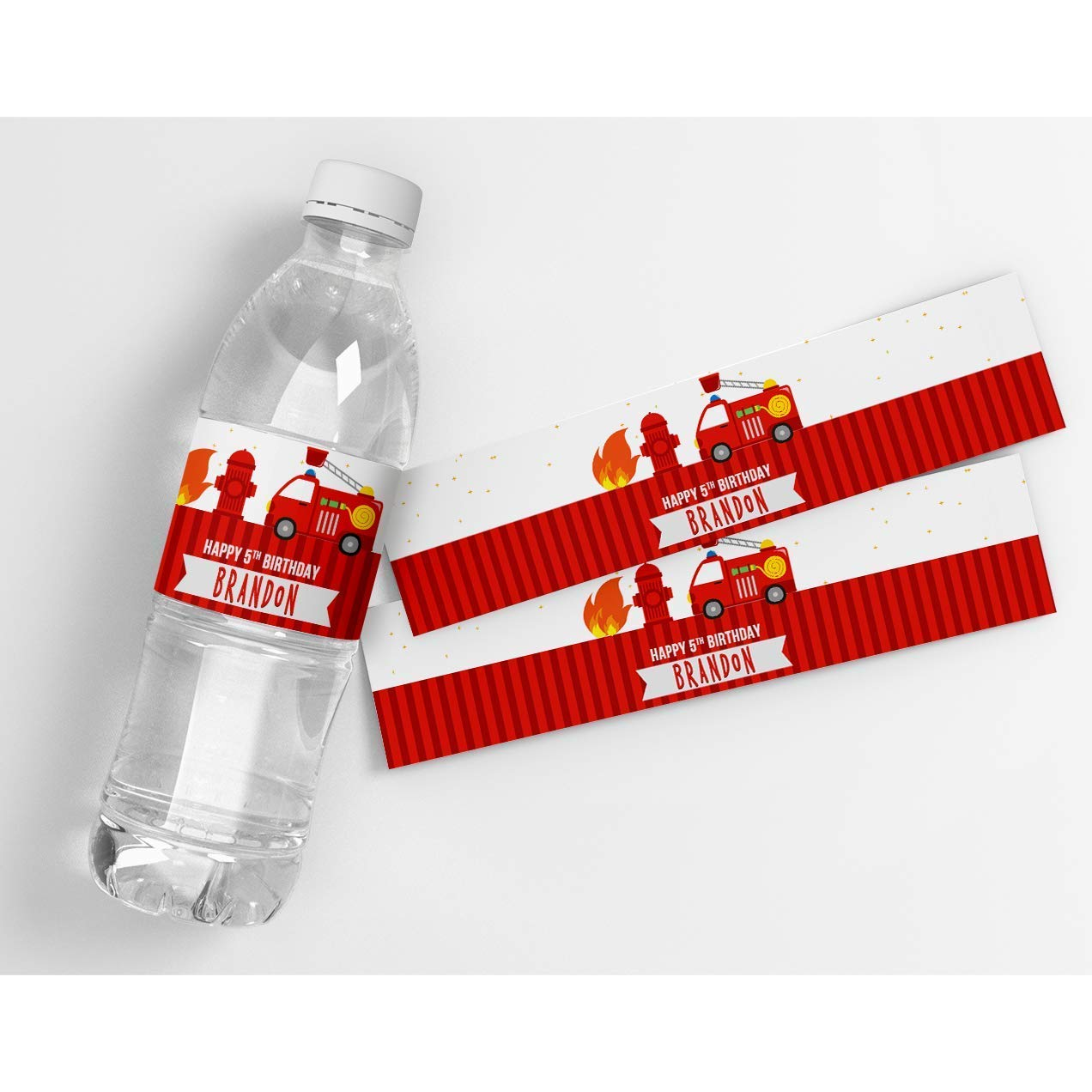 Fire Truck Stars and Stripes Birthday Personalized Waterproof Water Bottle Labels