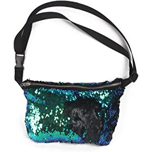 Gold + Pink NUOLUX Double Color Sequins Waist Bag Casual Outdoor Sports Bag