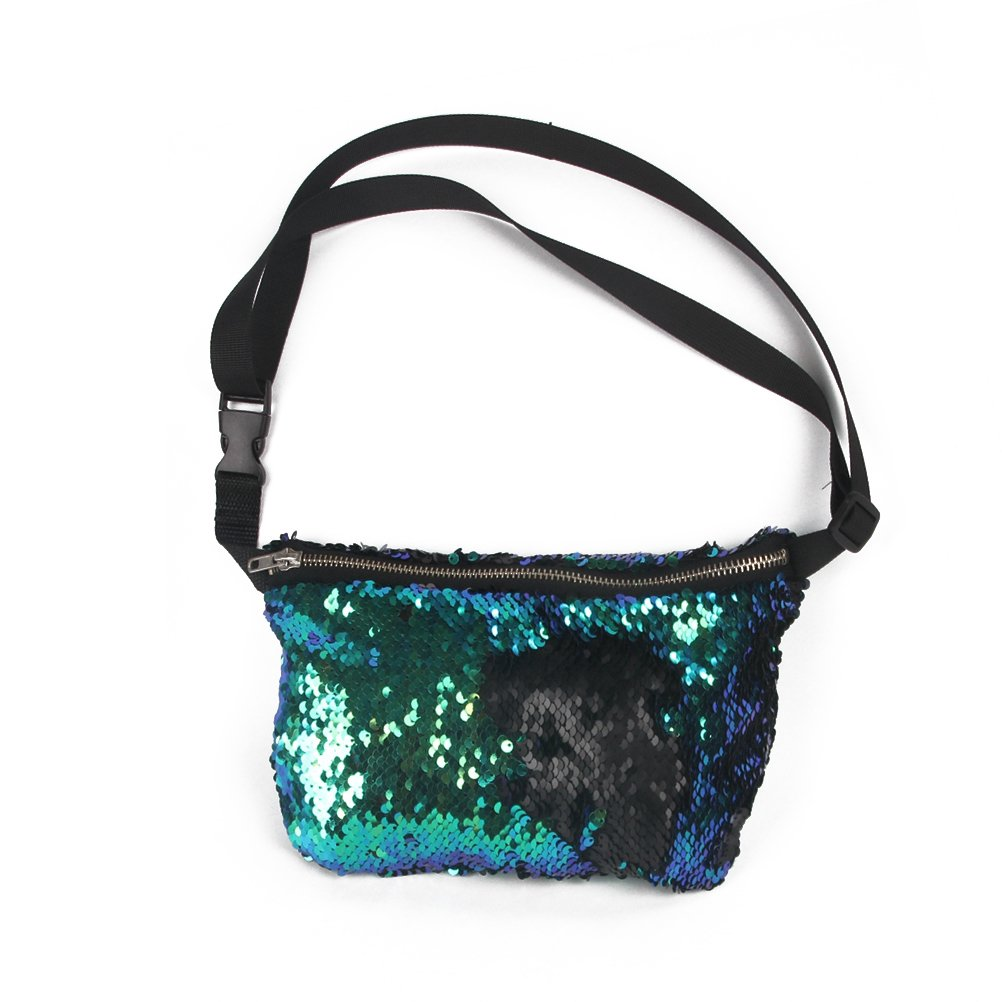 NUOLUX Double Color Sequins Waist Bag Casual Outdoor Sports Bag (Blue Green + Black)