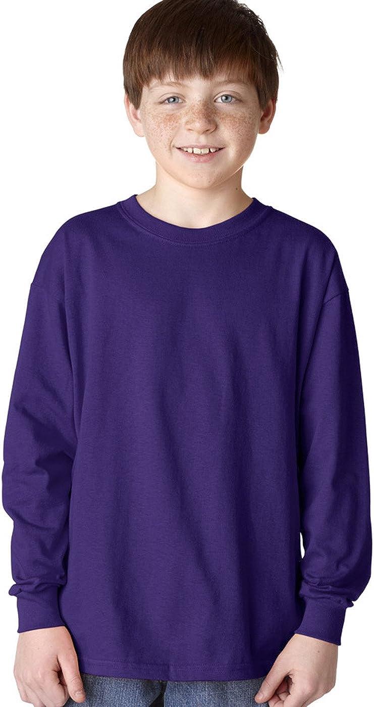 Gildan Boys 5.3 oz -PURPLE -S-12PK G540B Heavy Cotton Long-Sleeve T-Shirt