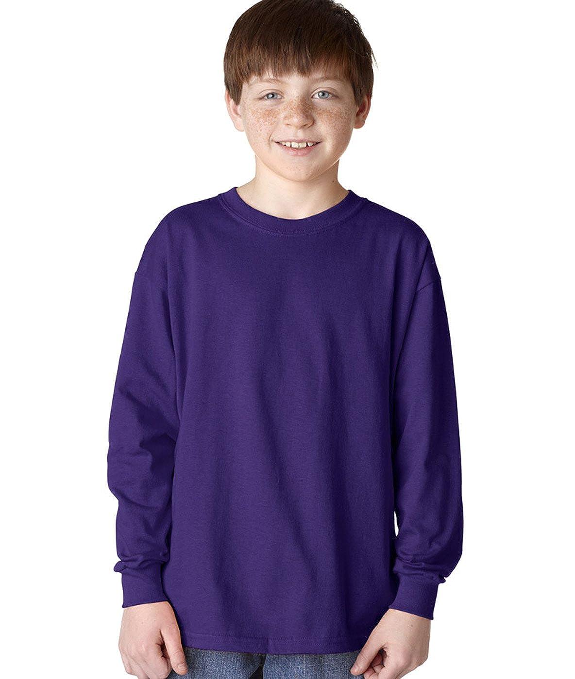 Heavy Cotton Long-Sleeve T-Shirt -PURPLE -M-12PK G540B Gildan Boys 5.3 oz