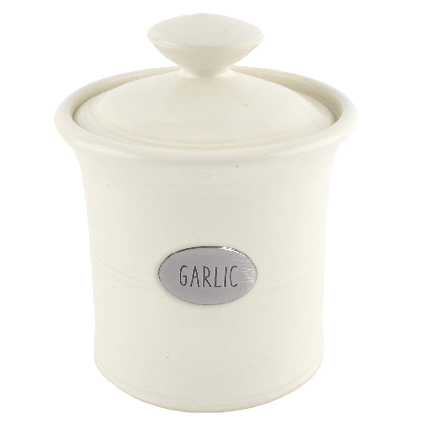 Oregon Stoneware Studio Garlic Pot, Whipping Cream by Oregon Stoneware Studio