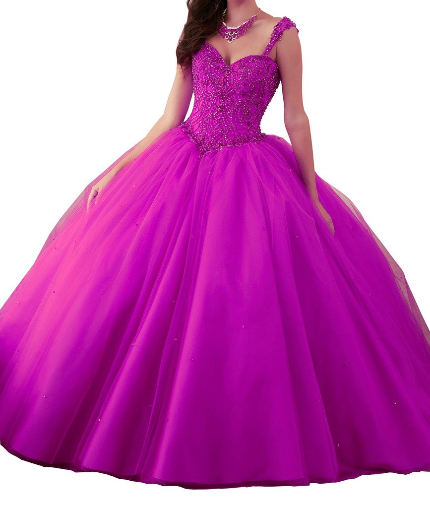 BoShi Women's Beaded Spaghetti straps Diamonds Wedding Sweet 15 Quinceanera Dresses 6 US Fuchsia