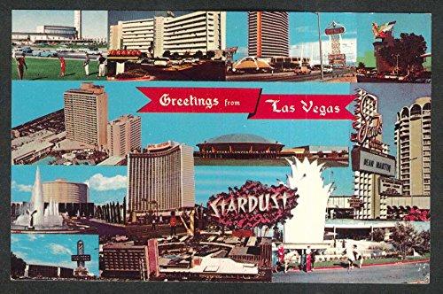 (The Strip Hotels Las Vegas NV postcard 1950s Stardust Sands Dunes Riviera)