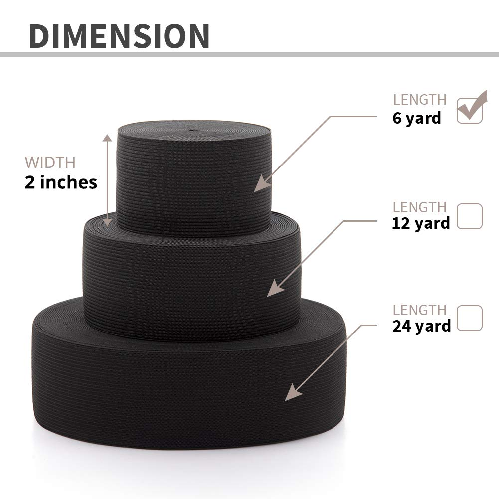 2 Inches x 6 Yards Dreamlover Black Elastic Spool Elastic Sewing Band for Wigs Waistband Underwear Pants Shoes Sheets Costumes Craft DIY Projects