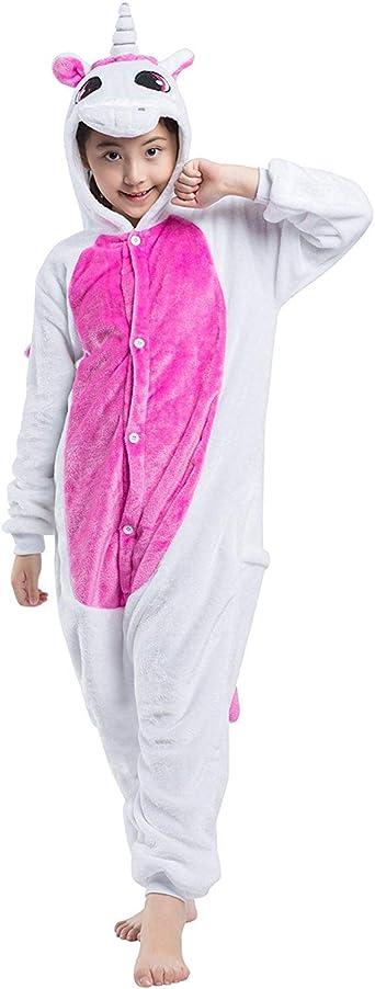 DELEY Unisex Niños Unicorn Pijamas Encapuchados Ropa De Dormir Enterizo Sleepwear Carnaval Halloween Cosplay