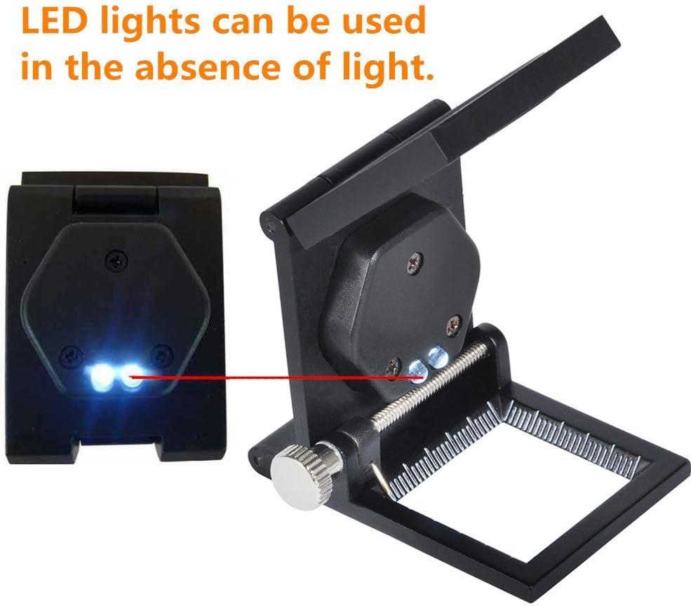 10x Loupe pliante avec lumi/ères LED en verre mains libres avec pochette en cuir