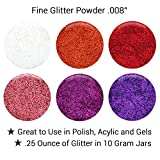 "GLITTIES - (12PK) - (.008"") - Vibrant Loose Glitter Powder Kit- Great for Nail Art, Polish, Gels, Acrylics Supplies, Crafts, Paints"