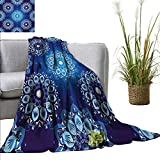 AndyTours Baby Blanket Dark Blue,Vintage Style Christmas Pattern with Lace Like Snowflake Motifs