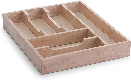 Zeller 24045 Cassetto per posate in legno di caucci/ù 34 x 43 x 6 cm