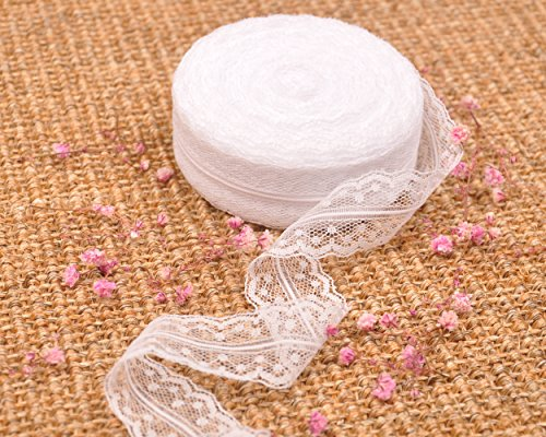 - Milesky White Lace Ribbon 1 inch by 20 Yards LRB02