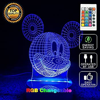 3d Mickey Mouse Led Night Light Touch Table Desk Lamp For