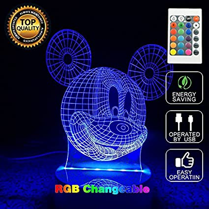 Mouse Color Table Lighting Mickey Touch Lamp 3d Desk 7 Led Change Panel Usb Button Optical Illusion Night Model Light tQrdhsC