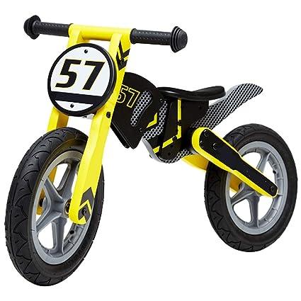 Bicicleta sin pedales Bici Bici de Equilibrio Rosa/Amarillo de Madera para niño/niña