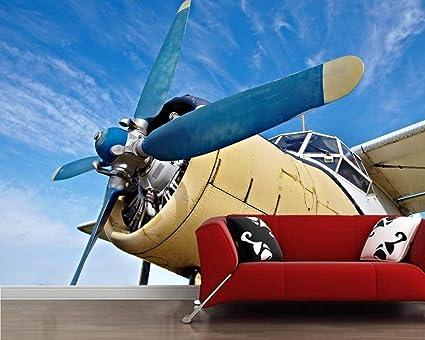 Zdbwjj Blue Sky Old Plane 3d Wallpaper Living Room Tv Sofa