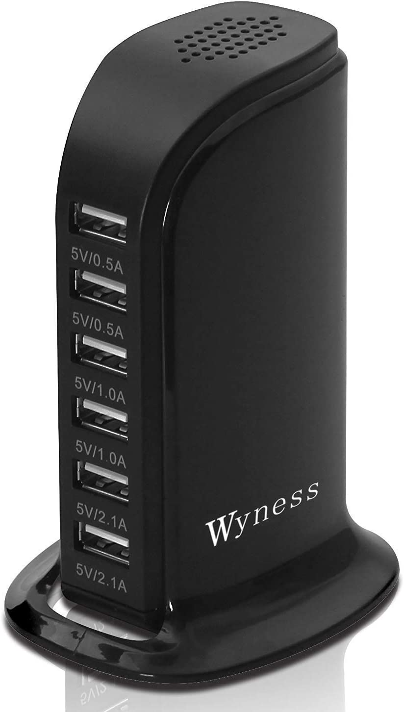 USB Tower Power Adapter 6-Port Smart IC Tech Charging Station with Quick Charge 2.1 for Phone, Tablets, and More (Black)