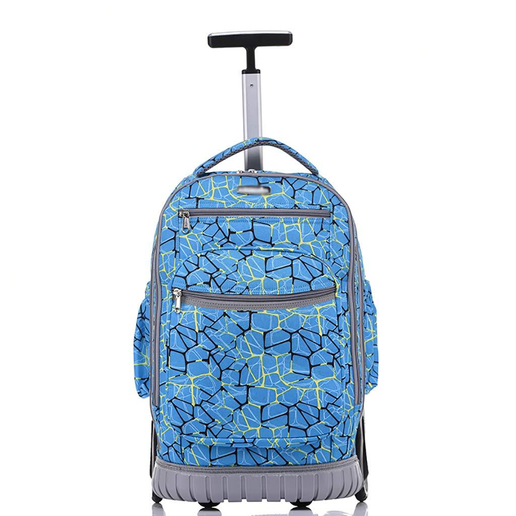 学校のラップトップバッグを旅する少年のためのトロリーバックパック大容量ストレージウィールドローリングバックパック防水旅の荷物  B B07MLR4248