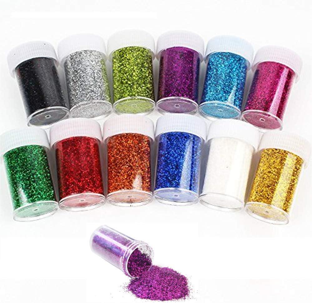12 Pack Slime Bead Supplies,Simuer Glitter Powder Sequins Paillette Glitter Pack Shake Jars DIY Art Craft for Slime,Nail Art Polish,Scrapbooking,Paints,Decoration,Assorted Colors: Amazon.es: Hogar