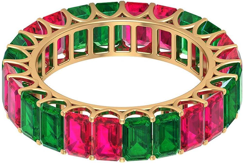 Anillo de rubí de 3,6 quilates, anillo de esmeralda octogonal de 4,2 cT5 x 3 mm, moderno anillo de eternidad, anillo de piedra natal de julio, 18K Oro
