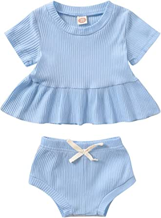 YOUNGER TREE Toddler Baby Girl Short Sets Solid Color Short Sleeve Top Dress+Shorts Infant Kids Clothes Outfits Summer