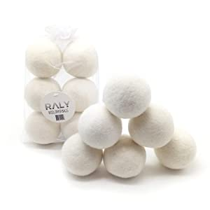 RALY Wool Dryer Balls XL 6-Pack, Organic Reusable Fabric Softener, All Natural Alternative to Dryer Sheets, 100% New Zealand Wool, Non Toxic, Chemical Fee, Hypoallergenic, Baby Safe, Bag Included.