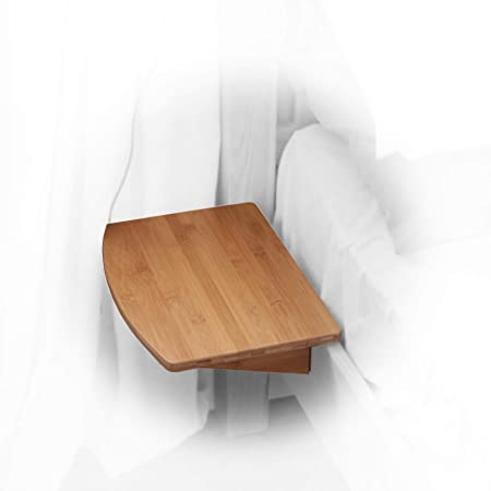 Bamboo Clip On Hanging Shelf Small Bedside Table Space Saving