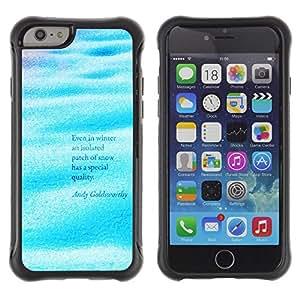All-Round híbrido Heavy Duty de goma duro caso cubierta protectora Accesorio Generación-II BY RAYDREAMMM - Apple iPhone 6 - Waves Sea Ocean Surf Quote Water Blue