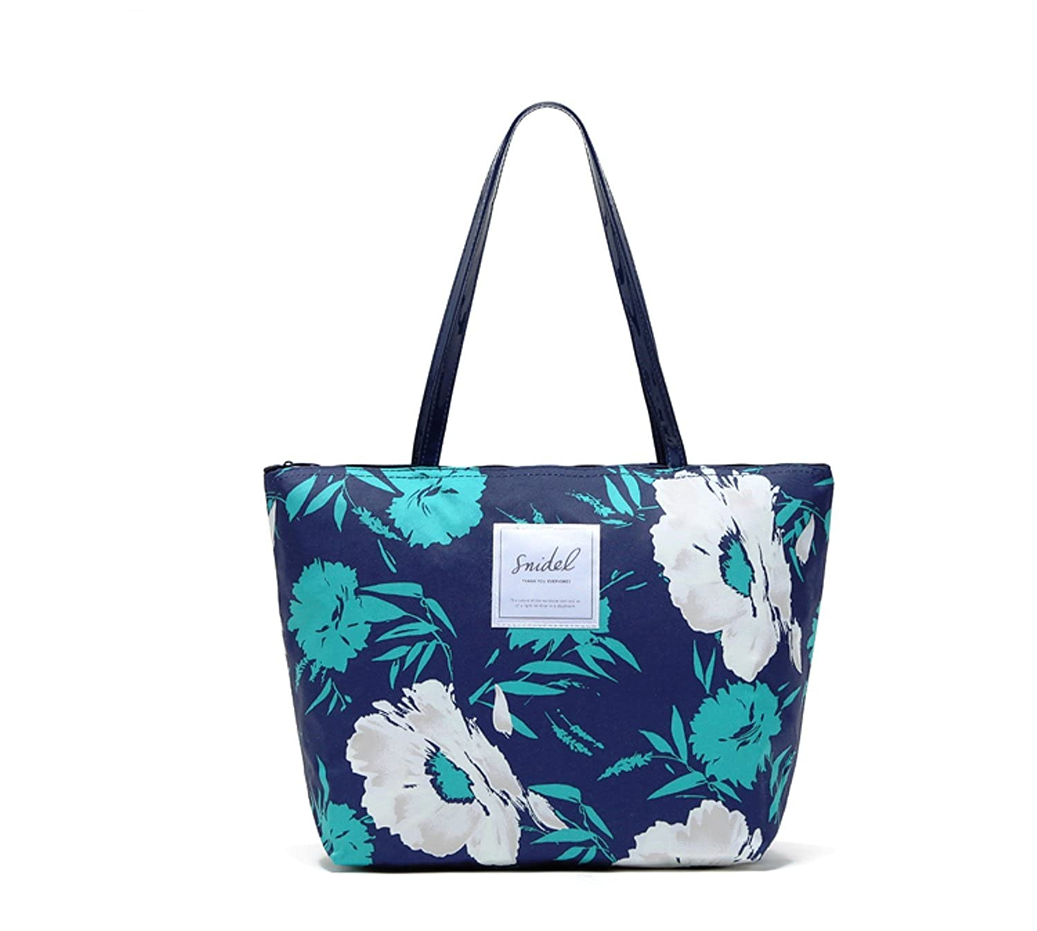 Flowertree@ Women's Polyester Oversized Floral Print Tote Bag Blue