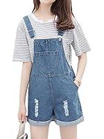 Season Show Girls Overalls Short Destroyed Denim Jeans